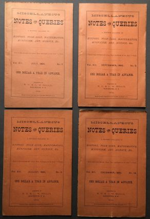 4 1894 issues of Miscellaneous Notes and Queries, A Monthly Magazine of History, Folk-Lore,...