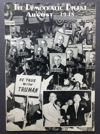 The Democratic Digest, August 1948, Truman campaign issue with Democratic Party Platform....