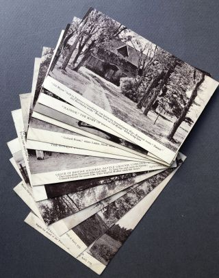 12 early 1900s postcards of Concord, Massachusetts - Thoreau, Emerson, Hawthorne, Alcott, etc
