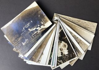21 mainly Real Photo Postcards 1913-1914 from LAKE GEORGE, NEW YORK including Silver Bay, Hague,...