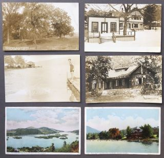 21 mainly Real Photo Postcards 1913-1914 from LAKE GEORGE, NEW YORK including Silver Bay, Hague, Fort Ticonderoga, etc.