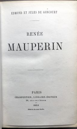 Renée Mauperin -- with tipped in letter from Edmond de Goncourt