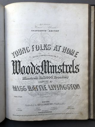 Bound volume of 1850s sheet music including My Old Kentucky Home, Good Night (1853), Oh Boys Carry Me 'Long (1851), Nelly Bly (1850), Melinda May (1850), etc.