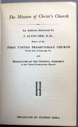 Bound volume of 1925-1939 sermons by Pittsburgh clergyman, many preached on the nation's first radio station KDKA