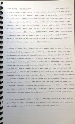 A. Norman Needy Sales Manual [1966 manual for employees at the Gitting photo studios]