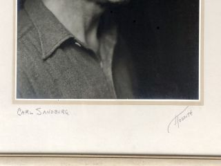 Large signed original framed 1935 silver gelatin photograph of Carl Sandburg