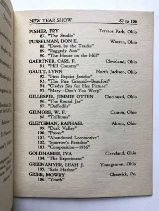 Second Annual New Year Show, January 1st through 31st, 1937: Catalogue