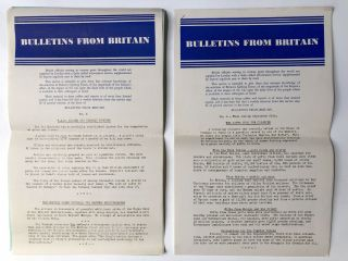 Bulletins From Britain, nos. 1-111, August 27, 1940 - October 14, 1942 COMPLETE