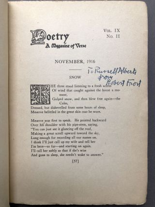 Poetry, A Magazine of Verse, November 1916 - inscribed by Robert Frost