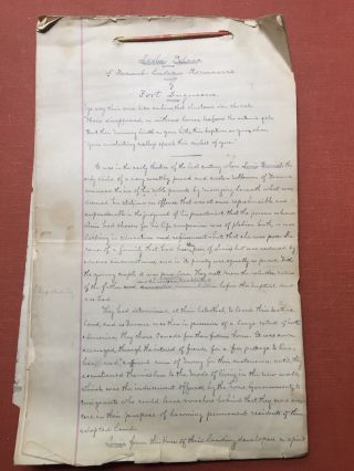 """Loolee Palava"" A French - Indian Romance of Fort Duquesne -- 58 pp handwritten manuscript of a..."