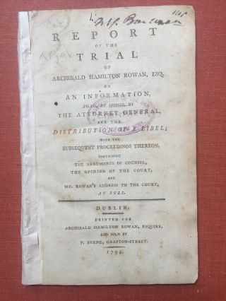 Report of the trial of Archibald Hamilton Rowan, Esq. on...