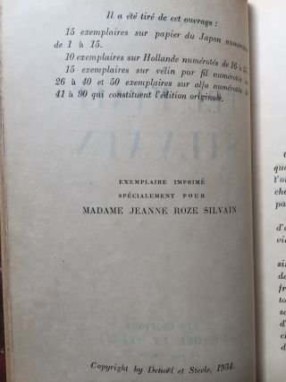 Tel Etait Silvain (inscribed by Jean Silvain to his sister, Jeanne and her husband) - 1934