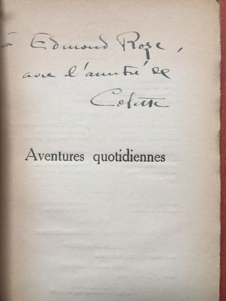 Aventures Quotidiennes, inscribed to her theatrical friend, Edmond Roze