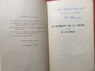 Le Diamant de la Reine, suivi de Le Louveteau - inscribed copy - no. 10 of 12 on Japon