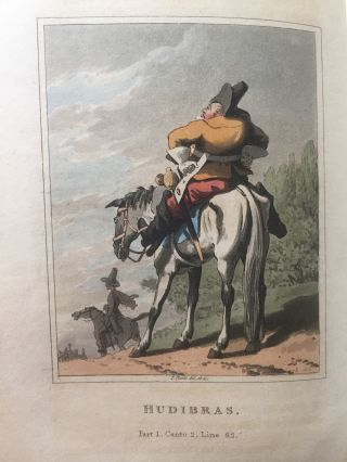 Hudibras, a Poem (2 volumes, 1819, finely bound, colored aquatint plates) - With notes selected from Grey and other authors, to which are prefixed a Life of the Author, and a Preliminary Discourse on the Civil War &c. A New Edition Embellished with Engravings