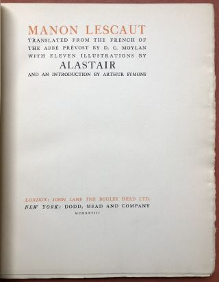 Manon Lescaut, illustrated by Alastair (1928 limited edition)