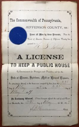 Document from Jefferson County Pennsylvania granting H. S. Belnap license to keep a public house...