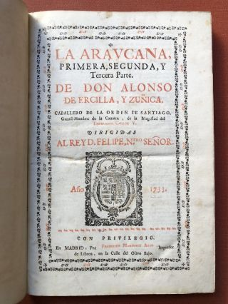 La Araucana (1733-1735, finely bound)