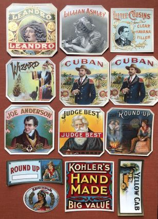 Lot of 13 unused cigar box labels, 1900s: The Round-Up, Judge Best, Joe Anderson, Cuban (2),...