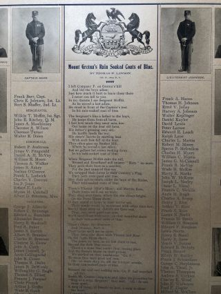 Mount Gretna's Rain Soaked Coats of Blue (Ca. 1899 memorial broadside for soldiers from PA 16th Volunteer Infantry who died in the Civil War and the Spanish American War)
