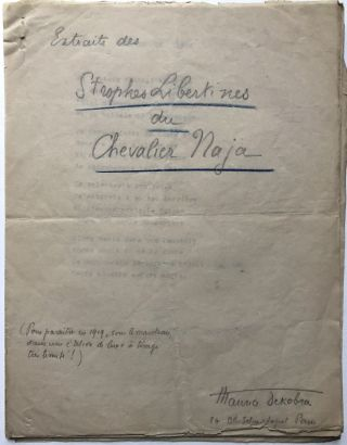 Extraits des Strophes Libertines du Chevalier Naja (handwritten cover page plus ten typed poems,...