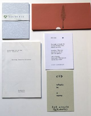 Group of Longhouse Press small press poetry items: Being Sagyo (signed by Corman), Janos Pilinkszky, James L. Weil, Woodburners We Recommend (Arnold signed), A little nasty zen poetry, I Tend to Simplify Everything, etc.