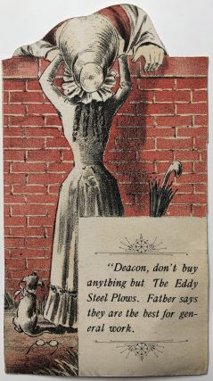2-sided trompe l'oeil trade card for Eddy Steel Plows, ca. 1890