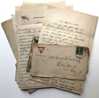 10 World War One letters home from brothers Bill and Jack Bleakney to their parents in Rose...
