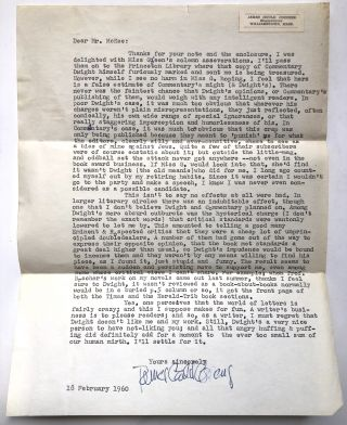 Original typed letter, signed, from 1960, commenting derisively on Dwight MacDonald's negative...