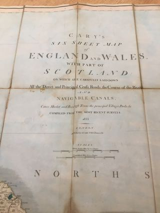 Cary's Six Sheet Map of England and Wales, with Part of Scotland, on which are carefully laid down All the Direct and Principal Cross Roads, the Course of the Rivers and Navigable Canals (1833)