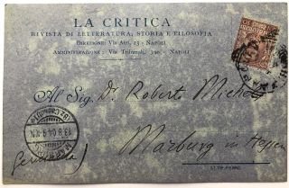 1904 autograph note on La Critica postcard to Robert Michels, Italian sociologist, asking for an article
