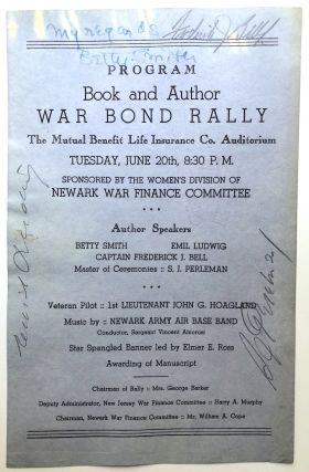 1944 program flyer for Book and Author War Bond Rally, signed by Betty Smith, S. J. Perelman,...
