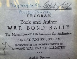 1944 program flyer for Book and Author War Bond Rally, signed by Betty Smith, S. J. Perelman, Frederick Bell and Emil Ludwig