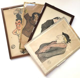 4 framed caricatures in color from the collection of Edmond Roze: Roze, Roze's father in law...
