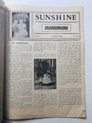 Sunshine, Vol. XI, no. 125, October 1909, Published in Aid of the Children of Tenements