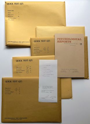 The Quick Test (QT): Envelope containing Manual, set of plates, research reports, 100 record...