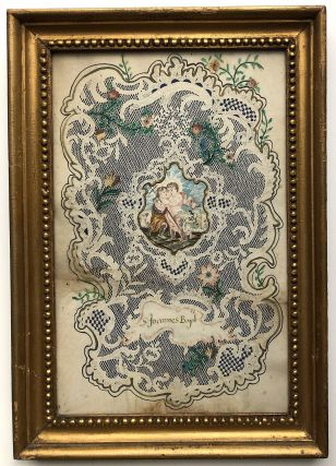 2 large devotional Valentines of the mid-18th century, framed, probably German.