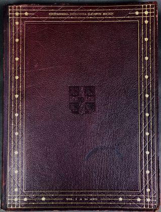 The Encyclopaedia Britannica, 11th edition (1910-1911), 29 volumes, 4to, maroon limp leather, VG