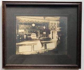 4 1890s framed photographs of men in bars (photos measure 8x6 inches, uniformly framed recently)