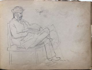 1890s sketchbook of drawings, many of Duer family children, from Baltimore MD