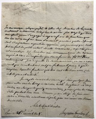 1800 letter from Benjamin Constant, recipient unknown, regarding concerns about municipal affairs...