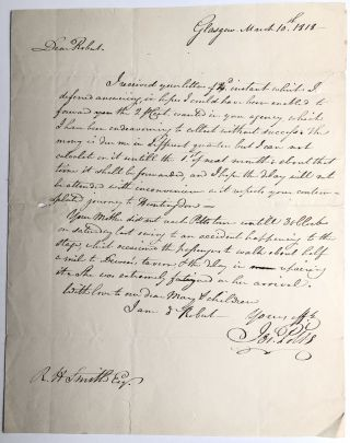 1818 letter from Joseph Potts (of the founding family of Pottstown) to friend Robert H. Smith in...