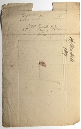 1828 letter to Gould & Co. Albany (sellers and publishers of law books) about going to Herkimer, NY on their behalf and taking possession of a library of books in payment for a debt