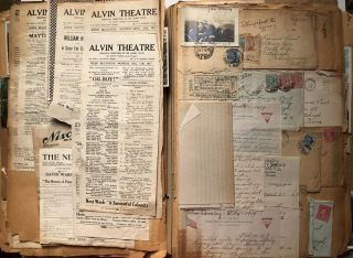 Large scrapbook of Frances Elizabeth Trent from 1917-1930s - dance cards, flyers from high schools and colleges for dances, letters from boyfriends in WWI, postcards, wedding invitations, Xmas, Valentine & Anniversary cards, etc.