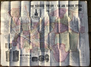 1898 large map in color of Pittsburgh, Allegheny and Environs (43 x 32 inches). R. L. Polk Co