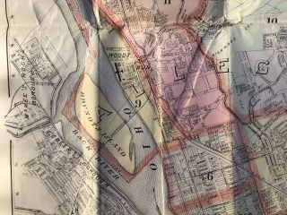 1898 large map in color of Pittsburgh, Allegheny and Environs (43 x 32 inches)