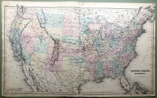 1876 Map of the United States, 29 x 17. Otto Krebs
