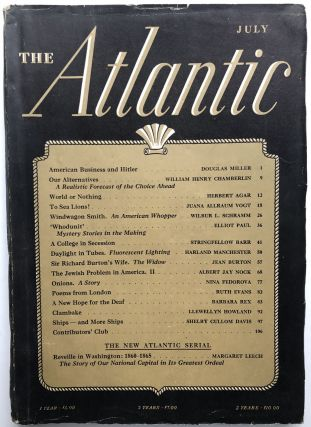 The Atlantic Monthly Magazine July 1941. Elliot Paul, Nina Fedorova