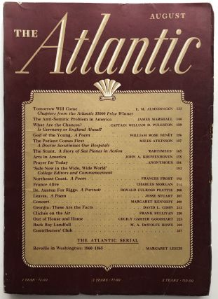 The Atlantic Monthly Magazine August 1941. Williamn Rose Benet, Jesse Stuart, Frank Sullivan,...