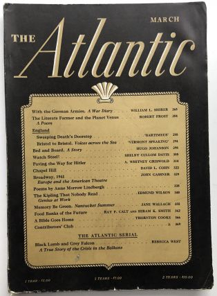 The Atlantic Monthly magazine March 1941. Robert Frost, William L. Shirer, Edmund Wilson